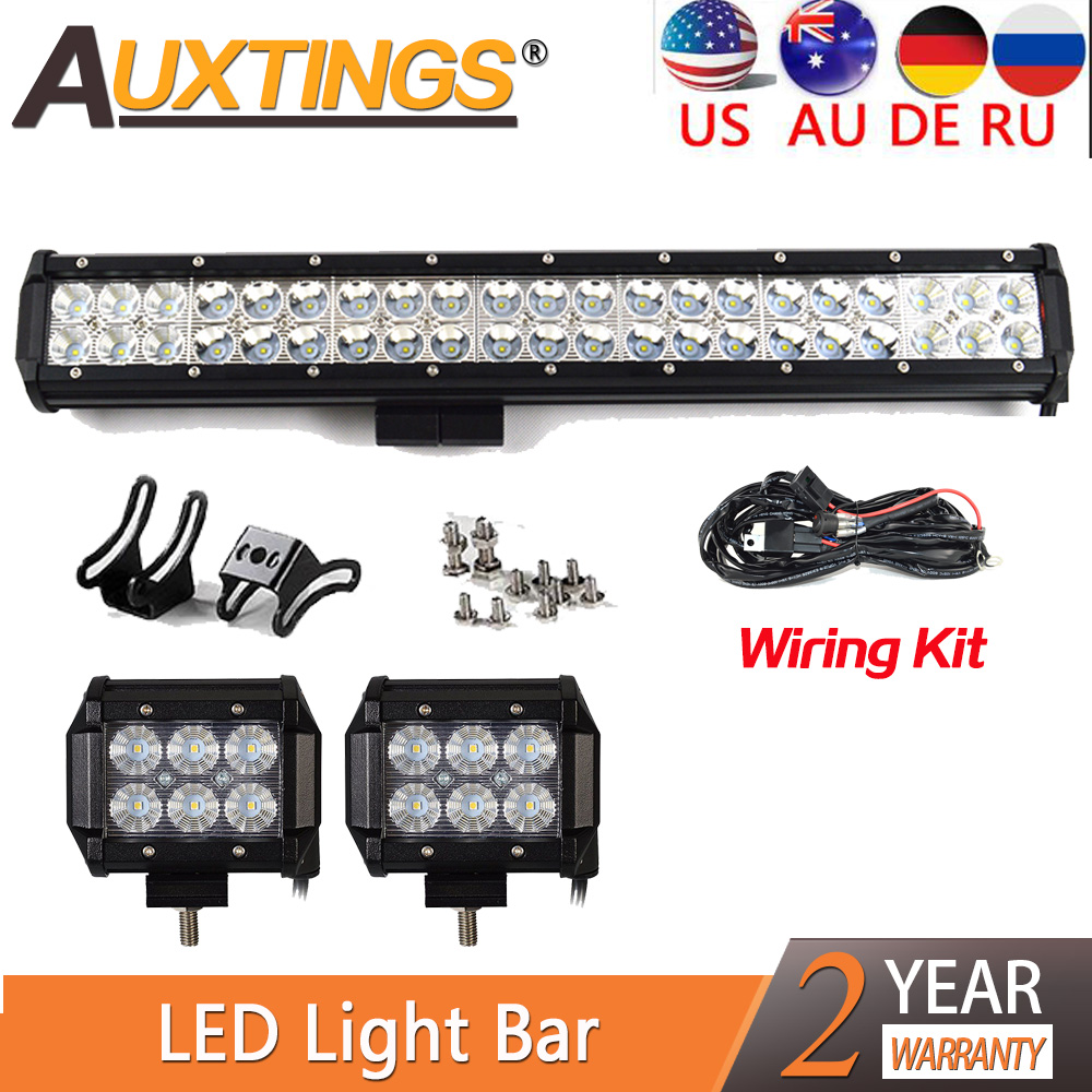Auxtings IP67 Waterproof 20inch 126w Dual Rows Combo Beam Straight Car LED Light Bar 2X 4inch
