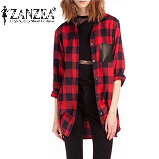 ZANZEA Hot Sale 2017 Fashion Women Full Sleeve Plaid Pockets Casual Lapel Button Down Blouse Long Sleeve Shirt  Plus Size