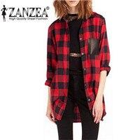 ZANZEA Hot Sprzedaż 2017 Kobiety Moda Pełna Rękaw Plaid Kieszenie Casual Lapel Przycisk W Dół Bluzka Z Długim Rękawem Koszula Plus Size