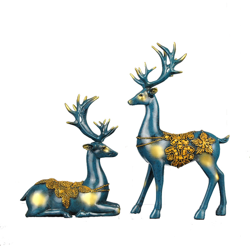 Resin craft present inventive European couple elk ornaments high-end dwelling ornament ornaments Collectible figurines & Miniatures, Low cost Collectible figurines & Miniatures, Resin craft present inventive European couple elk...