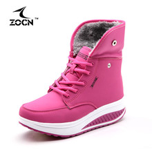 ZOCN Femmes Bottes D'hiver Cheville Bottes Pour Swing Wedge Casual chaussures 2016 Vente Chaude Plate-Forme Chaussures Femme Neige Bottes Intensifient chaussures