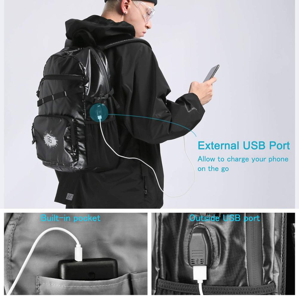 BS Travel Men Backpack Casual Laptop Computer Bags with USB Charging Port Lightweight Waterproof School Bags for Travel College in Backpacks from Luggage Bags