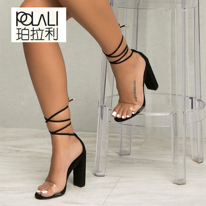 POLALI shoes Women Summer Shoes T-stage Fashion Dancing High Heel Sandals Sexy Stiletto Party Wedding Shoes White Black 2258W