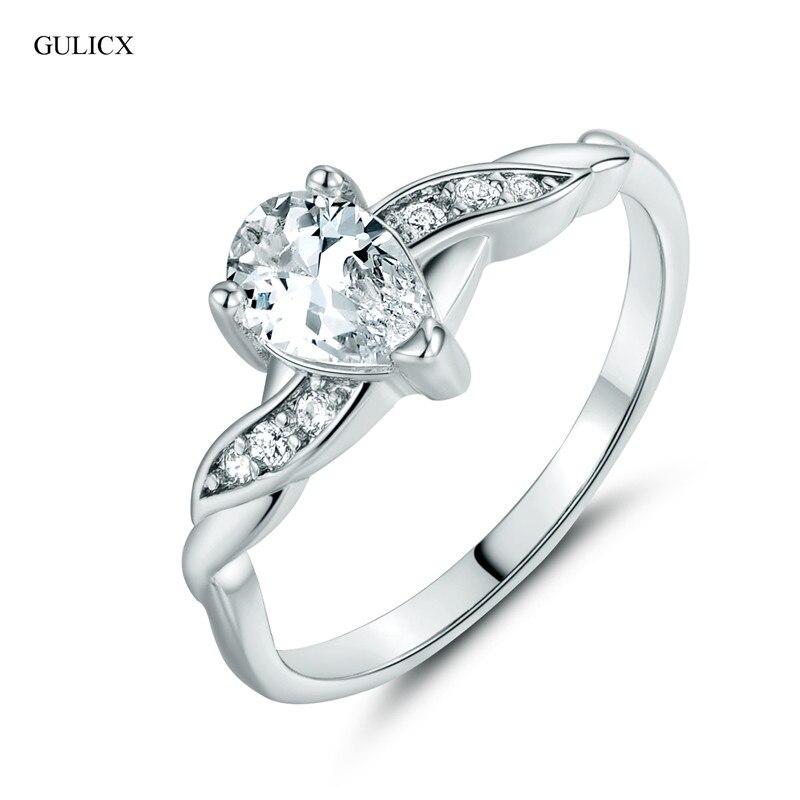 gulicx new 2017 fashion teardrop finger ring white gold color crystal cubic zirconia wedding rings - Teardrop Wedding Ring
