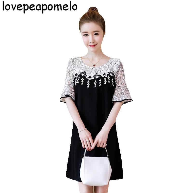 Lovepeapomelo 2018 جديد كبير الحجم المرأة الكورية البوق الأكمام الدانتيل فضفاض أسود فضفاض كبيرة الحجم المرأة الصيف اللباس 5XL D259