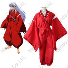 Anime Inuyasha Cosplay Costumes Red Suit Halloween cosplay party kimono clothing Top + Pants + Belt Set