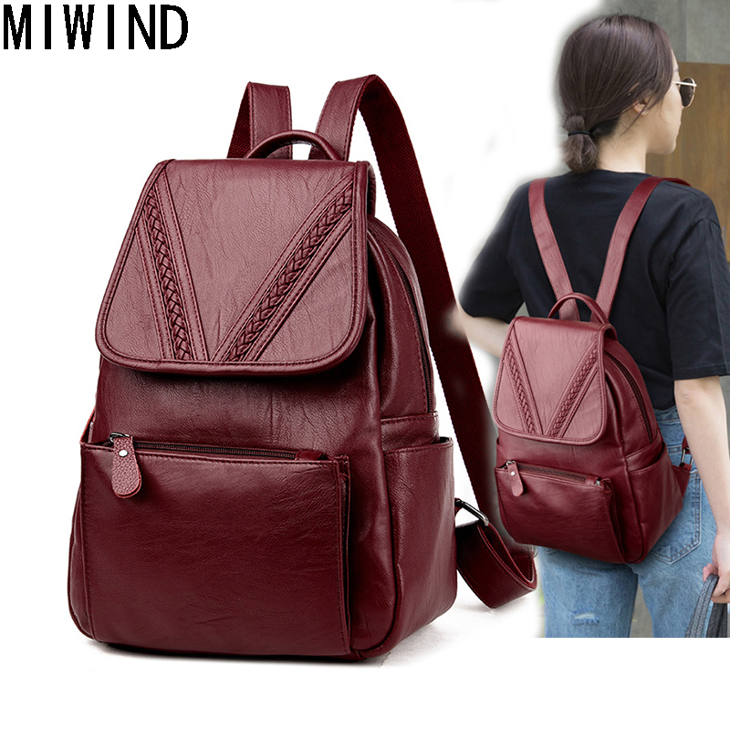MIWIND High Quality Fashion Women Backpacks Soft Leather Backpack For Teenage Girls Travel Bag Shoulder Bag back pack T1152