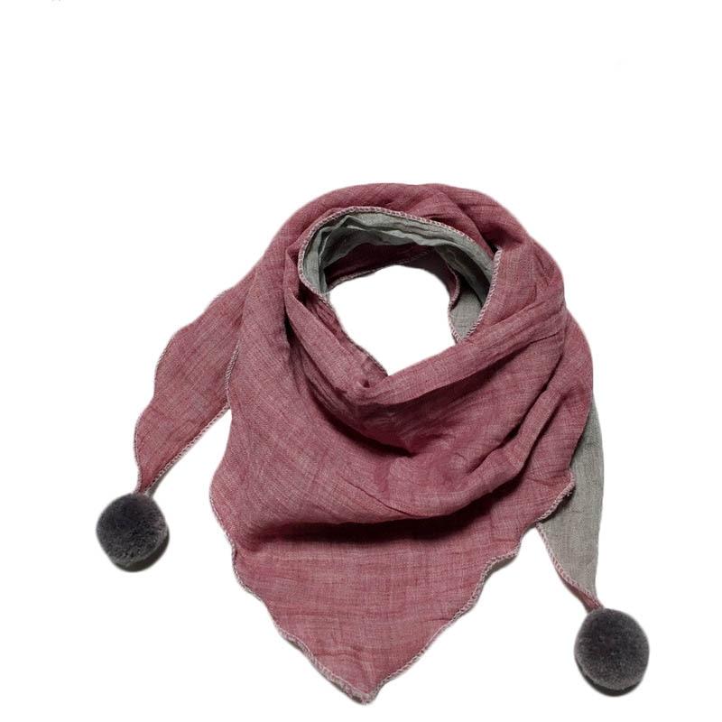 Весенние клетчатые треугольные шарфы в горошек для маленьких девочек; осенне-зимняя шаль для мальчиков и девочек; Детские хлопковые воротники; теплый детский шейный платок - Цвет: light pink