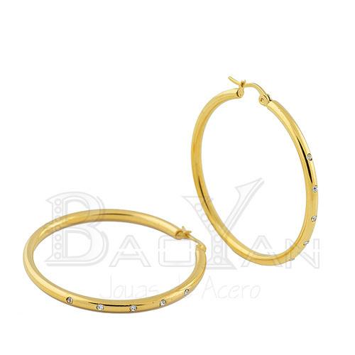 56mm oro rhinestone pendientes de aro de acero Inoxidable de compras en línea
