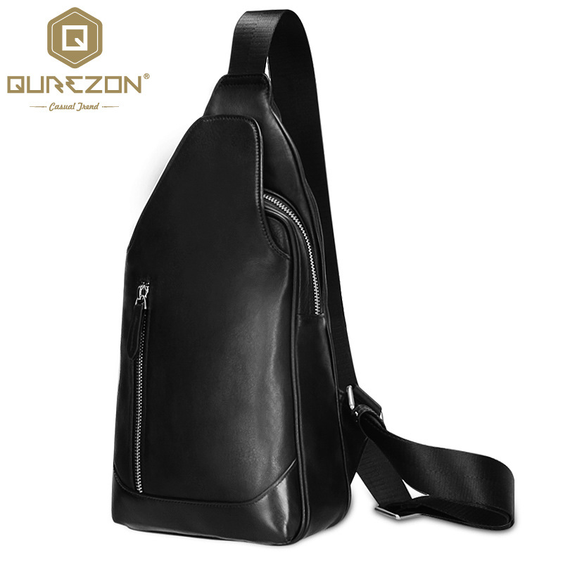 QUREZON Brand Men Genuine Leather Chest Pack Single Shoulder Strap Back Bags Leather Travel Men Crossbody Bags Top Quality NL101