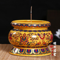 craft Tibet gild Foo Dog Lion Buddhism incense burner Censer