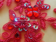 Free shipping sew on red patches lace applique 25*9cm hand sewing beads for dress veil Manual DIY accessories