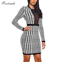 Ocstrade New Arrival Bandage Dress 2018 Women Houndstooth Print Black And White Long Sleeve Bandage Dress