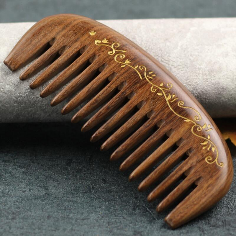 Gold wire sandalwood half moon comb Coarse tooth Massage No static electricity Portable health care Haircut comb best gift