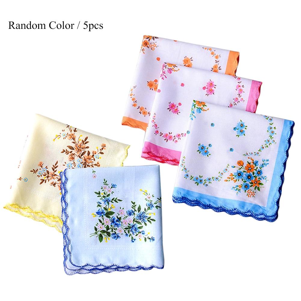 5Pcs Ladies Handkerchief Vintage Floral Embroidered Cotton Handkerchief Napkin Random Color Blue Yellow Red Ladies Handkerchief