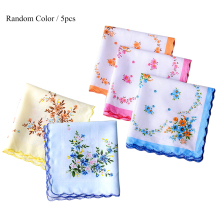 5Pcs Ladies Handkerchief Vintage Floral Embroidered Cotton Napkin Random Color Blue Yellow Red