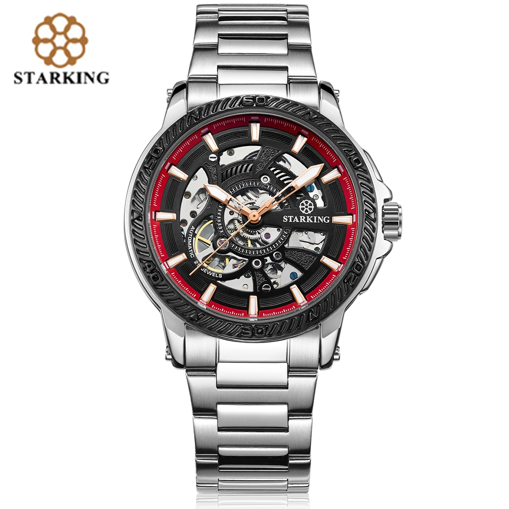 STARKING Outdoors Automatic Sport Men Wrist Watch Luminous Pointer Punk Mechanical Watches Business 30M Water Resistant Watch zgo high quality resin sport watch men 50m water resistant 1 year warranty white black golden sport wrist watch