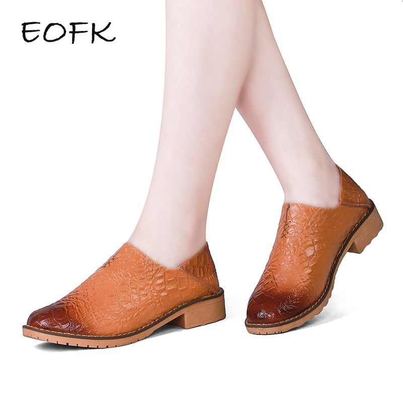 EOFK 2019New Design Fashion Womens Leather Shoes For Women Slip On Gradient Brown Shoes Woman Crocodile