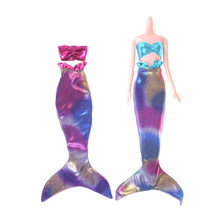 1 Set Top Tail Dress Handmade Dolls Party Dress Gown Skirt Fashion Clothes For Doll Genuine Mermaid Tail Dress Baby Toy(China)