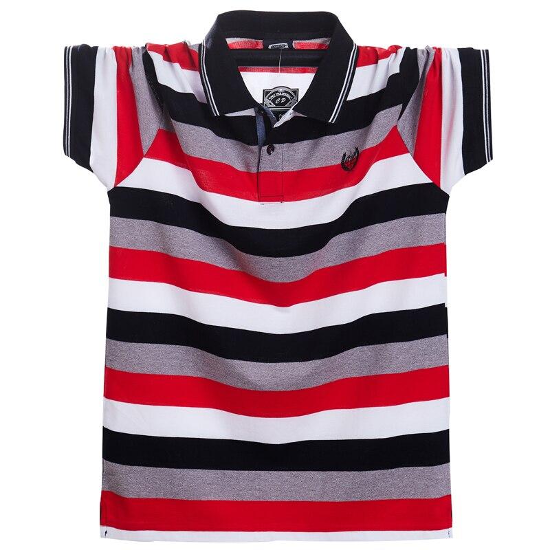 Image 5 - Мужская футболка поло, летняя, повседневная, дышащая, с коротким рукавом, в полоску, большого размера 5xlПоло   -