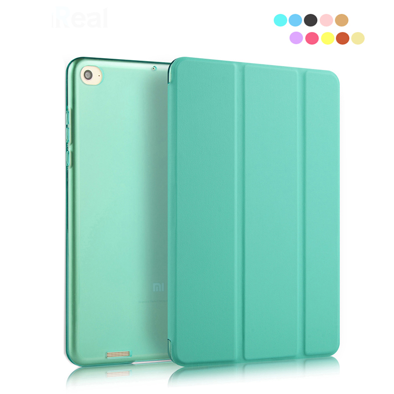 +Free Film+Sylus Solid Color Translucent Back Cover For XiaoMi Mi Pad 2 Case Flip PU Folio Stand Capa Case for MiPad 2