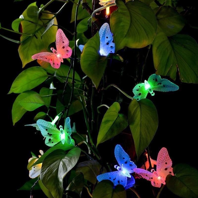 12 LED Solarbetriebene Schmetterling Fiber Optic Fairy String Outdoor Gartenleuchten