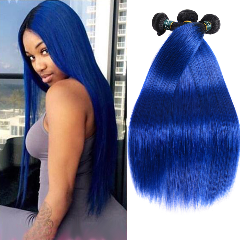 Sexay Ombre Human Hair Weaving 3/4 Bundles Pre-Colored Straight Two Tone T1B/Blue Remy Indian Silky Straight Human Hair Bundles