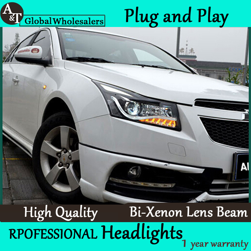 Car Styling for Chevrolet Cruze Headlight assembly Cruze LED Headlight DRL Lens Double Beam H7 with hid kit 2pcs. right combination headlight assembly for lifan s4121200