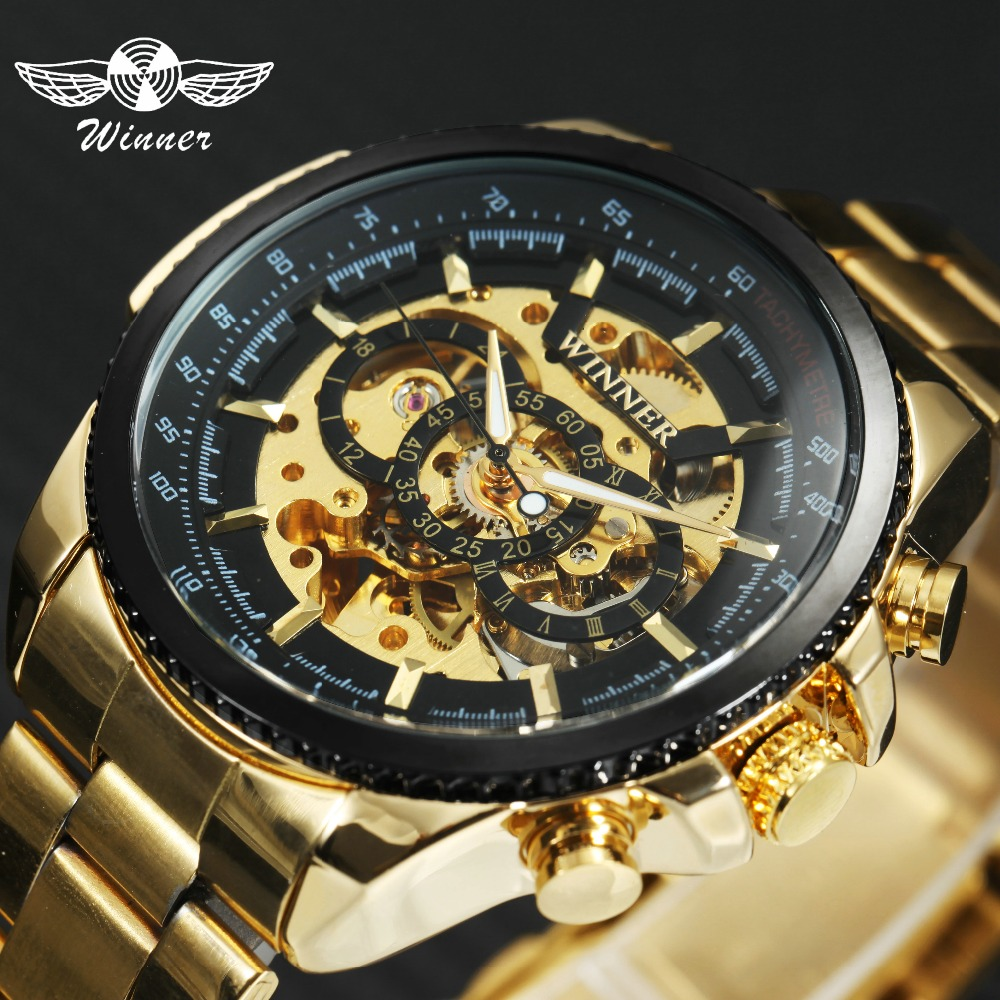 WINNER Classic Business Auto Mechanical Watch Men Stainless Steel Strap Skeleton Dial Top Luxury Golden Wrist Watches relogio цены