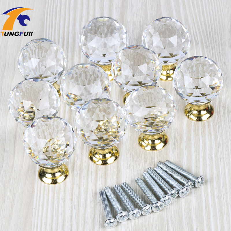 In Stock 10 Pcs Lot 25 40mm Crystal Glass Handle Door Knobs In Brass For Kitchen