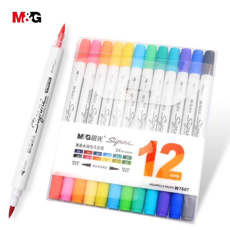 M&G two head watercolor brush marker pens for drawing colored felts art marker liner pen school art supplies stationery office touchnew 60 colors artist dual head sketch markers for manga marker school drawing marker pen design supplies 5type