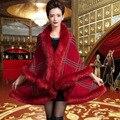 10 Colors Faux Fur Coat New 2015 Winter Luxury Faux Fox Fur Poncho Long Bat Sleeve Plaid Knitted Cardigan Shawl Cape Wool FS882