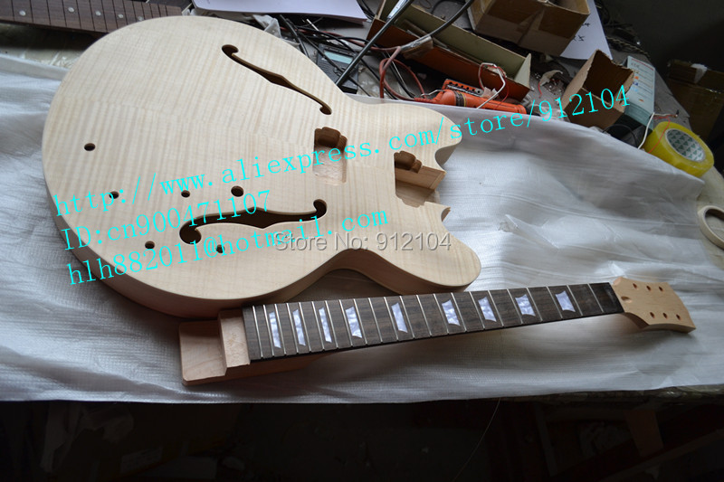 free shipping new unfinished hollow electric guitar including neck and body +foam box+diy your guitar F-1942 china s guitar high quality unfinished tl electric guitar ash diy guitar real photos free shipping