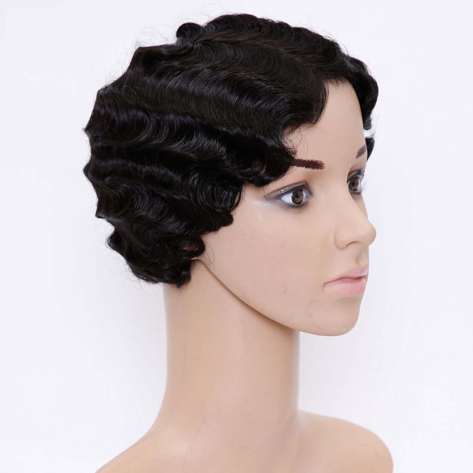 JINKAILI Short Pixie Blonde Wig Figer Wave Curly Synthetic Wigs for Black Women African American Fake Hair Heat Resistant headpiece
