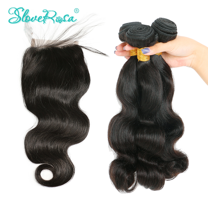 Aliexpress Buy 3 Bundles With Closure Non Remy Peruvian Body
