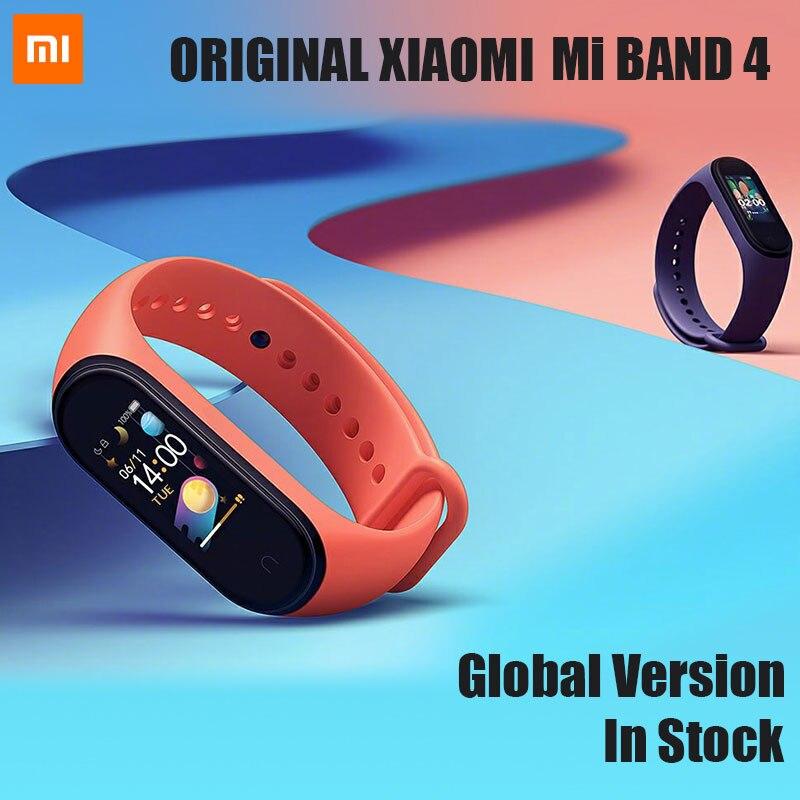 Оригинальный Xiaomi mi Band 4 сердечного ритма фитнес цветной сенсорный экран mi band 4 умный Браслет 135 мАч Bluetooth 5,0 браслет музыка-in Смарт-браслеты from Бытовая электроника
