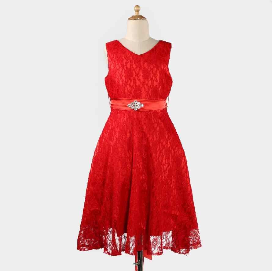031f70692 ... Adolescente niñas boda de dama de honor vestidos encaje de flores para  2-16 años ...