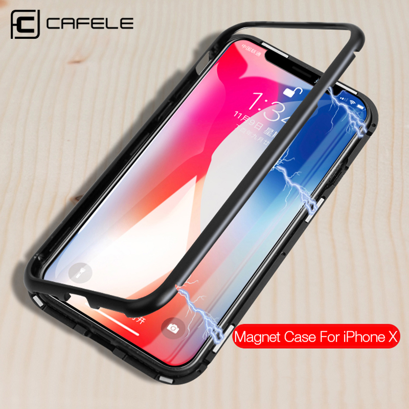 CAFELE Magnetic Case For iPhone X 10 metal edge Tempered Glass Ultra Thin Transparent Glass Back Cover For Apple iPhones X 10