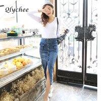 Fashion Jean Skirt Korean Style Summer Women Pencil Skirt Button Pocket Slim High Waist Denim Long