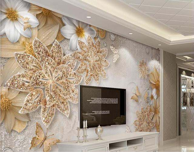 Customize wallpaper for walls jewelry flower butterfly 3d photo wall murals wall papers home decor 3d
