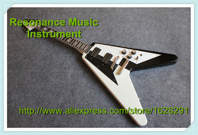 Cheap Custom Shop Limited Edition Electric Guitar Flying V Black & White In Stock For Sale