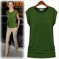 2016 Marca de Fábrica Grande de Algodón Mujeres Stretch T-shirt Camiseta Tops y Camisetas Casuales Sólidos Camisetas de Estilo Europeo y Americano