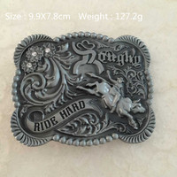 Retail Western Cowboy Bull Rider Belt Buckle Suitable 3 8 4cm Wideth Belt 99 78mm Metal
