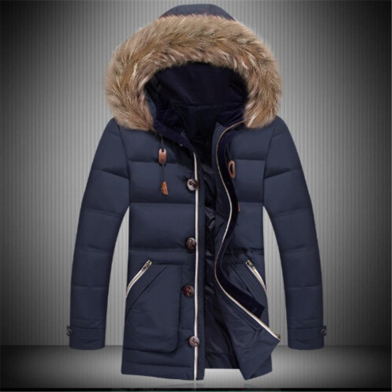 2016 4 Color Winter Hooded Jacket Men Thickening Warm Duck Down Jacket Men Detachable Fur Collar Parka Men Big Size XXXL