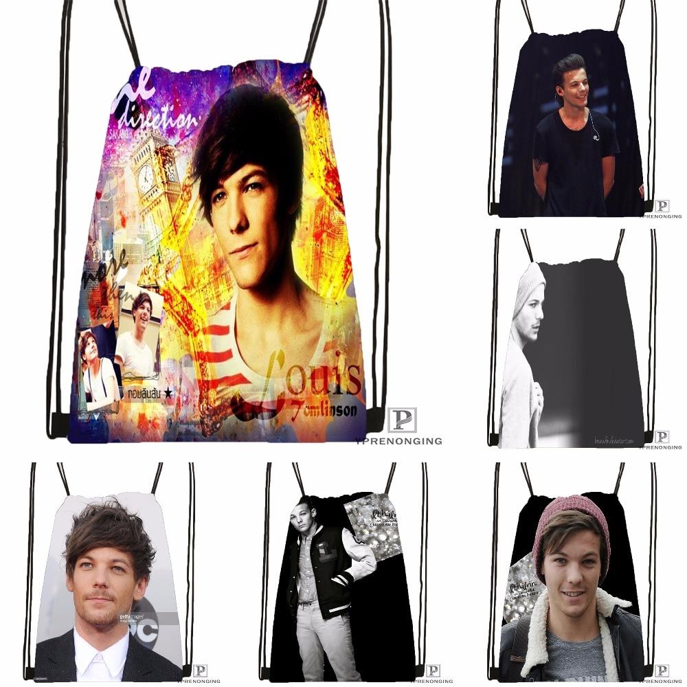 Custom Louis Tomlinson Drawstring Backpack Bag Cute Daypack Kids Satchel (Black Back) 31x40cm#180531-03-09