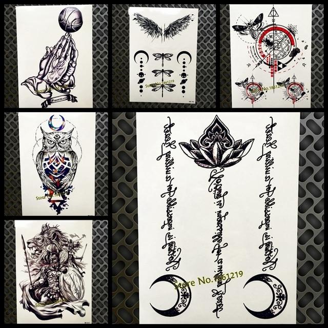 Black Lotus Moon Islam Temporary Tattoo Stickers Muslim