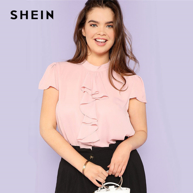 697bd1a7ab SHEIN Pink Plus Size Puff Sleeve Ruffle Front Stand Neck Blouse Women 2019  Summer Plain Elegant Casual Workwear Top Blouses