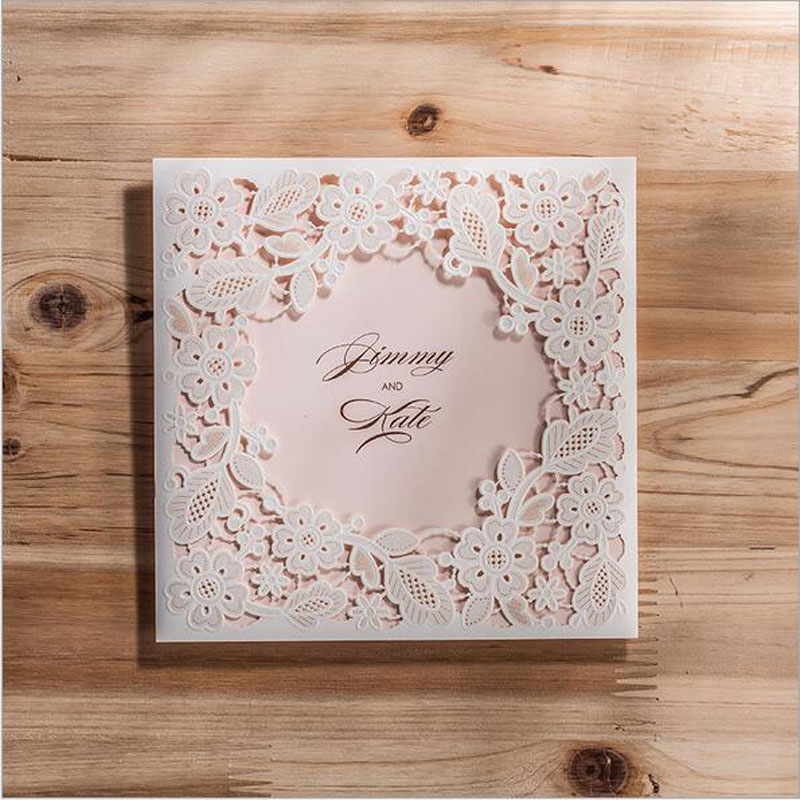 100pcs White Hollow Laser Cut Wedding Invitations Card Personalized Custom with Ribbon & Envelope Seals Wedding Party Supplies 1 design laser cut white elegant pattern west cowboy style vintage wedding invitations card kit blank paper printing invitation