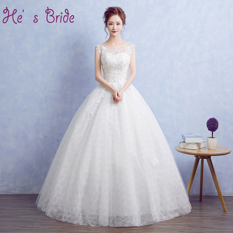 Cheap Wedding Dresses 2017 Lace Wedding Gowns Princess: Plus Size Cheap Customized Princess Sleeveless Wedding