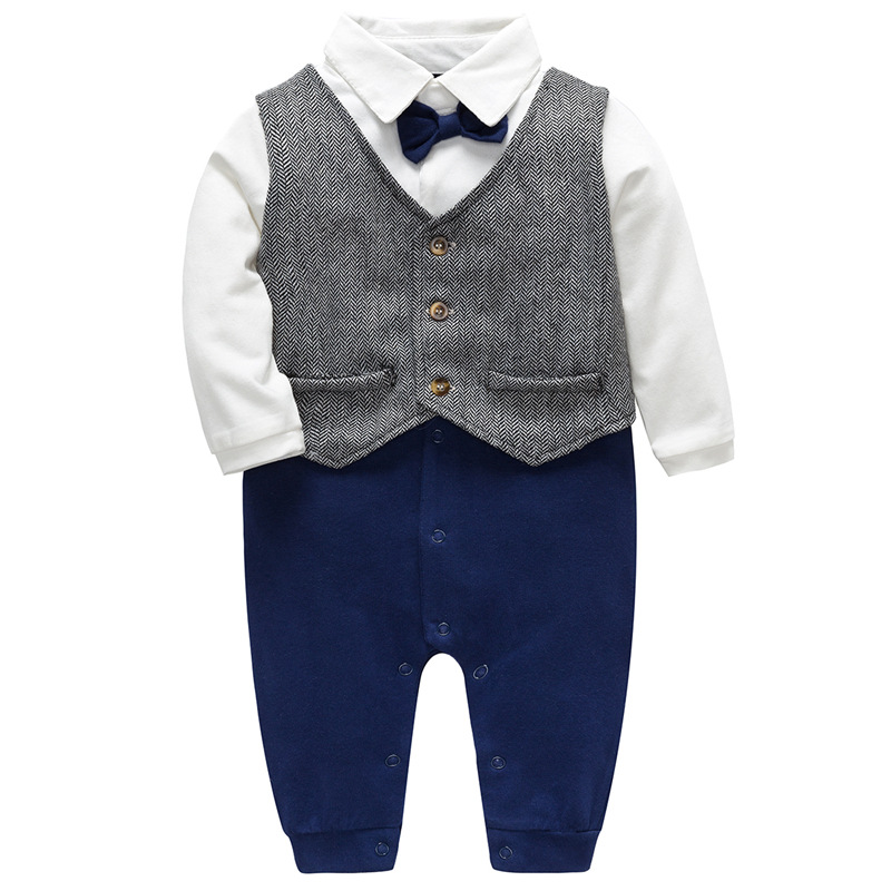 New Newborn Baby Rompers Clothes Baby Boys Clothes Tie Gentleman Bow Leisure Infant Toddler One-pieces Jumpsuit Baby Rompers Boy